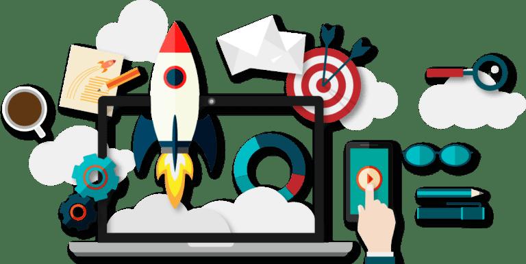 Image of marketing design rocket for digital marketing agency louth